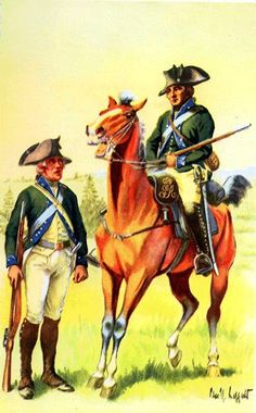 American Revolutionary War Uniform - Emmerich's Chasseurs, 1776, by Charles M. Lefferts.