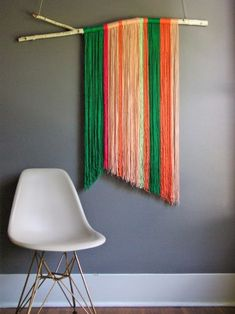 DIY colorful Wall hanging woven macrame with wood sticks and chair - wall hanging weaving, wall hanging weave