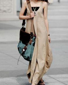 Flax Linen Sleeveless Dress  CustomMade Fast Shipping by zeniche, $65.00