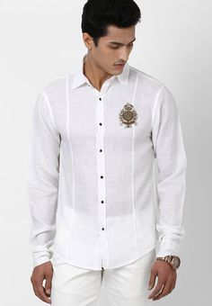 83ef99c980a White Linen Shirt with the hand embroidered metal crest