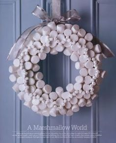 marshmallow wreath:  Insert about 150 toothpicks halfway into a 12-inch flat foam wreath, then skewer a marshmallow onto each toothpick. Refrigerate overnight to set. (Birds may fancy this one, so consider hanging it inside.)