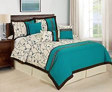 7 Piece RANNIE Branches Comforter Set- Queen King Cal.King Teal/Ivory
