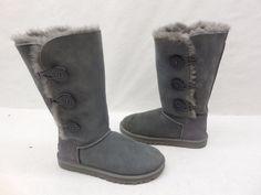 UGG Australia Womens 1873 Gray Suede Bailey Button Triplet Shearling Boots 6 #UGGAustralia #SnowWinterBoots