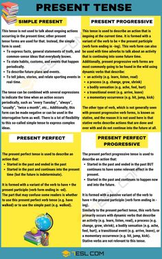 Present Tense: Definition, Rules And Examples Of The 04 Present Tenses - 7 E S L English Grammar Tenses, Good Grammar, Teaching English Grammar, English Grammar Worksheets, Spanish Language Learning, English Vocabulary, English Language, Present Tense Spanish, Simple Present Tense