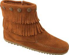 Minnetonka Double Fringe Side Zip Boot - Brown Suede - Free Shipping & Return Shipping - Shoebuy.com