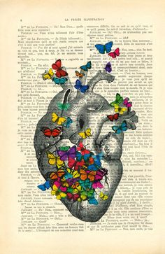 Heart with Colorful Butterflies Vintage Dictionary Art Print