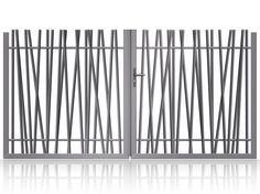 "Portail alu battant sur mesure design avec tubes ""PYLA"" Exterior Sliding Barn Doors, Fence Doors, Fence Gate, Fencing, Metal Stairs, Metal Gates, Wrought Iron Gates, Garden Railings, Garden Gates"