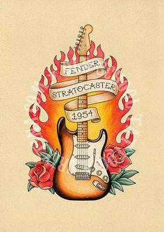 T17. FENDER STRATOCASTER, 1954. guitar, Flash tattoo. Old school tattoo. tattoo…