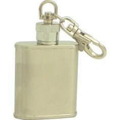 "Executive Style Satin Finish Stainless Steel 1oz Key Chain Flask . $12.00. Remember a special traveler with an innovative gift idea when you choose our unique stainless steel flask keychain. Totally durable, of quality stainless steel, this intriguing travel gift is designed in the shape of a flask with a hook-style ring for holding keys. Flask key chain is perfect for convenient carrying and storage while traveling - weighs only 1 oz. and is 2 1/5 x 1 3/4"" in size, to fi..."