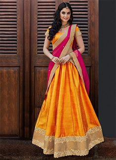 Net and Bhagalpuri Party Wear Lehenga Choli in Yellow Colour.It come with matching Duapatta and Choli.It is crafted with Lace Work. Half Saree Lehenga, Indian Lehenga, Simple Lehenga Choli, Lehenga Suit, Ghagra Choli, Anarkali, Half Saree Designs, Choli Designs, Lehenga Designs Simple