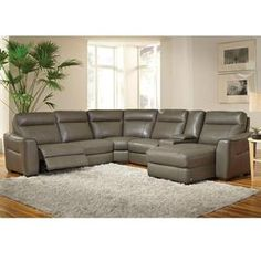 6 Piece Gray Leather Power Reclining Sectional | Nebraska Furniture Mart
