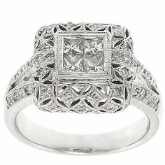 0.85 Cttw Round and Princess Cut Diamond Fancy Cocktail Ring in 14K White Gold by GetDiamondsDirect on Etsy