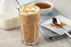 Caramel Iced Coffee Pots and Pans, Cinnamon Streusel Coffee Cake Frappe Recipe, Brown Sugar Coffee Syrup. Iced Caramel Mocha Recipe, Iced Caramel Coffee, Tea Recipes, Coffee Recipes, Cold Coffee Drinks, Latte, Frappe Recipe, Streusel Coffee Cake, How To Make Caramel