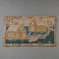 Pictorial Wool Hooked Rug with House   Sale Number 2669M, Lot Number 596   Skinner Auctioneers