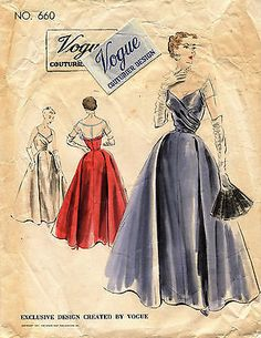 1950's VTG VOGUE Couturier Design Misses' Evening Dress w/Label Pattern 660 16 | Collectibles, Sewing (1930-Now), Patterns | eBay!