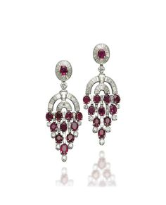 A pair of ruby and diamond chandelier ear pendants #christiesjewels