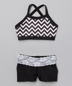 Look what I found on #zulily! Black & White Zigzag Sports Bra & Lace Shorts - Girls by Elliewear #zulilyfinds