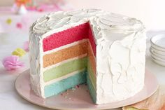 Learn how to make a rainbow cake with Kraft Recipes. Rainbow cake is a show stopping dessert that& so much easier to make than you might think. Cakes To Make, How To Stack Cakes, How To Make Cake, Kraft Foods, Kraft Recipes, Cute Easter Desserts, Small Desserts, Desserts To Make, Food Cakes