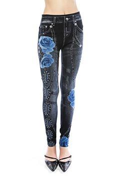 VIRGIN ONLY Women's Denim Jeans Printed Elastic Waist Band Seamless Leggings (524 Black, One Size) VIRGIN ONLY http://www.amazon.com/dp/B012HS5EDK/ref=cm_sw_r_pi_dp_-Jyewb0ZAAQ89