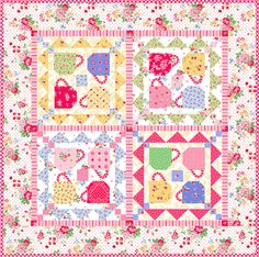 Free Pattern - Coffee Klatch Quilt by Pam Kitty Morning - Perfect for my kitchen. but in red and yellow