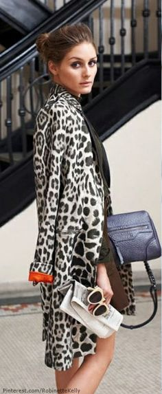 We love this leopard print jacket, the orange cuff captivates our attention!