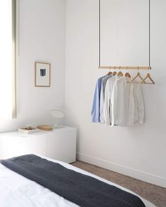 Hanging Clothes Rack | Modern Clothing Rack | Ceiling Mounted Clothes Rack– KROFT Hanging Clothes Racks, Diy Clothes Rack, Hanging Closet, Hanging Racks, Clothes Hangers, Clothes Rack Bedroom, Retail Clothing Racks, Commercial Clothing Racks, Wood Clothing Rack