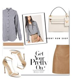 """""""Gingham & Leather with @frontrowshop"""" by nfabjoy ❤ liked on Polyvore featuring Front Row Shop, Lipsy, Valentino, Manolo Blahnik, Leather and gingham"""