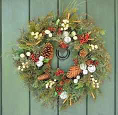 Sleigh Bells Ring  Pine Bell and Berry Wreath by WillowgaleDesigns, $59.99