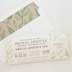 Set the tone of your bridal shower with Watercolor Leaves, Beacon Lane's floral invitations with patterned envelope liners specially made for your party.