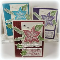 Simply Sara Stampin' featuring cards made with Fun Stampers Journey products.  Stamp sets Poinsettia Burst and Holiday Wishes from the FSJ Journey Holidays Catalog.