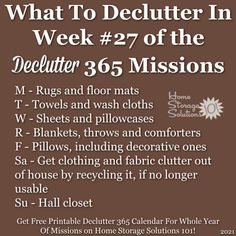 What to declutter in week #27 of the Declutter 365 missions {get a free printable Declutter 365 calendar for a whole year of missions on Home Storage Solutions 101!} Paper Organization, Coupon Organization, Clutter Organization, Household Notebook, Household Tips, Organizing Your Home, Organizing Tips, Organising, Clutter Control
