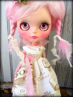 Etsy Transaction - Antique French Patisserie Dress in Cream and Rose Petal Pink for Blythe
