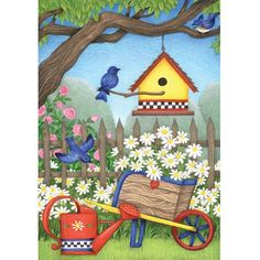 Birdhouse Daisies Garden Flag