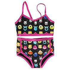 She'll dive into the chatty world of emoticons with this two-piece Disney Emoji Swimsuit. Inspired by the popular texting characters, it provides UPF 50+ protection from the sun's rays.