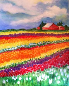 This one is for you and I!!! Look at all of the tulips, with a farm in the background!!! Perfect piece for Grandpa!!!