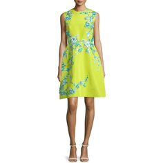 Monique Lhuillier Sleeveless Embellished Faille Cocktail Dress ($5,340) ❤ liked on Polyvore featuring dresses, chartrse, floral applique dress, floral fit and flare dress, yellow cocktail dress, fit flare dress and sleeveless dress