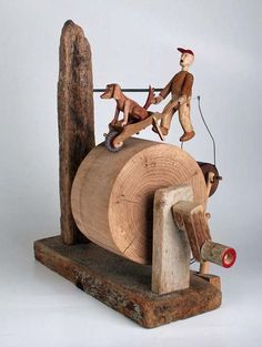 Walkies - Robert Race - I like woodworking :) Intarsia Wood Patterns, Wood Carving Patterns, Antique Toys, Vintage Toys, Intarsia Holz, Kinetic Toys, Kinetic Art, Wood Toys, Handmade Toys