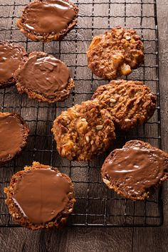 Chewy Apricot and Sunflower Anzac Biscuits with Chocolate Bases from Food Lovers by Helen Jackson | onetakekate.com