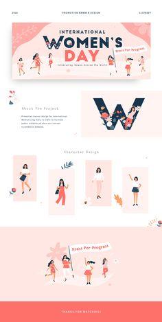 Website and Branding International Women's Day - Promotion Banner Design on Behance Tips For Setting Design Web, Design Sites, Web Banner Design, Web Banners, Design Typography, Branding Design, Logo Design, Lettering, Graphic Design