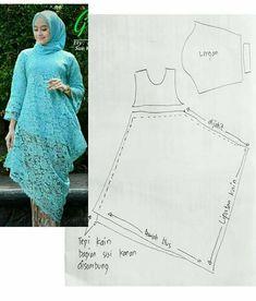 Diaryofacreativefanatic--Knitting The Ba - Diy Crafts - DIY & Crafts Batik Fashion, Fashion Sewing, Hijab Fashion, Diy Fashion, Dress Sewing Patterns, Blouse Patterns, Clothing Patterns, Abaya Pattern, Gown Pattern