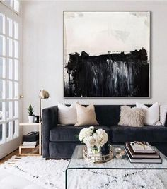 Black white abstract painting, Black white painting Decor art on canvas, Minimalist abstract art painting,Horizontal wall art,Wall decor art Living Room Sofa, Home Living Room, Apartment Living, Living Room Furniture, Living Room Designs, Black Sofa Living Room Decor, Black Couch Decor, Black Couches, Dining Room