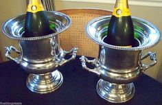 ROYAL SHIELD SHEFFIELD SILVER WINE CHAMPAGNE CHILLER ICE BUCKET MATCHING SET - 2 #FineThings4sale
