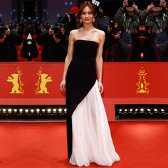 Black A Line Strapless Pleated Red Carpet Celebrity Dress 2017 Formal Women Long Evening Prom Gowns 67th Berlin Film Festival I6