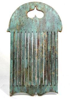 Antique 18th/19thC TAPE LOOM HEART CUTOUT BLUE PAINT AAFA Folk Art Primitive