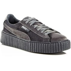 Fenty Puma x Rihanna Women's Velvet Lace Up Creeper Sneakers ($150) ❤ liked on Polyvore featuring shoes, sneakers, cement, mens velvet shoes, mens shoes, mens gray dress shoes, mens grey shoes and puma mens shoes