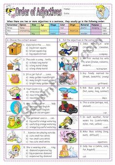 Order of Adjectives - ESL worksheet by missola Order Of Adjectives Worksheet, Adjectives Activities, Grammar Activities, English Activities, Vocabulary Exercises, Grammar Exercises, English Grammar Worksheets, English Vocabulary, English Words