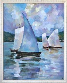 Original oil on canvas sailboat sea lake marine boat ship sea view sea landscape by BallaElenaArt on Etsy Marine Boat, Oil Painting On Canvas, Sailboat, Sailing Ships, Sea, Landscape, The Originals, Etsy, Sailing Boat