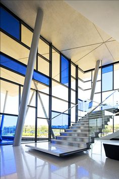 Unilever Indonsa Plant Elphick Proome Architects - by dennis guichard photography Amazing Architecture, Architecture Details, Modern Architecture, Leaded Glass, Stained Glass, Glass Building, Casas Containers, Take The Stairs, Stairway To Heaven