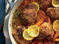 Braised Chicken Thighs with Carrots and Lemons Recipe | Sweet carrots and tangy lemons make this simple dish of braised chicken sing. If you've never tried your hand at braising before, this is a great recipe to get started. There are essentially three steps to braising: Brown meat in a pan, then set it aside and add some vegetables. When they are soft, deglaze the pan with liquid (like stock or wine) and scrape up all the browned bits at the bottom of the pan.
