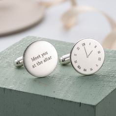 The Personalised Wedding Special Time Cufflinks are a brilliant way to style your wedding day, handmade in the finest silver by Posh Totty Designs. Based upon our bestselling Personalised Special Time Cufflinks these beautifully engraved Personalised Wedding Special Time Cufflinks are handmade in sterling silver. A heart-warming gift for any Groom on his wedding day or Best Man. One cufflink is engraved with the time of your wedding or meeting place and the other with a message of your…